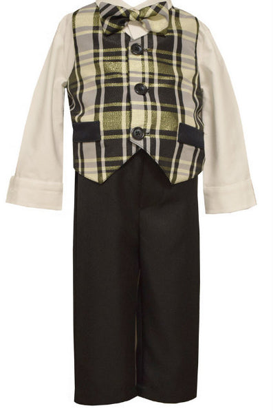 4PC SET,  BOY'S GOLD PLAID VEST, SHIRT, TIE, PANT SET