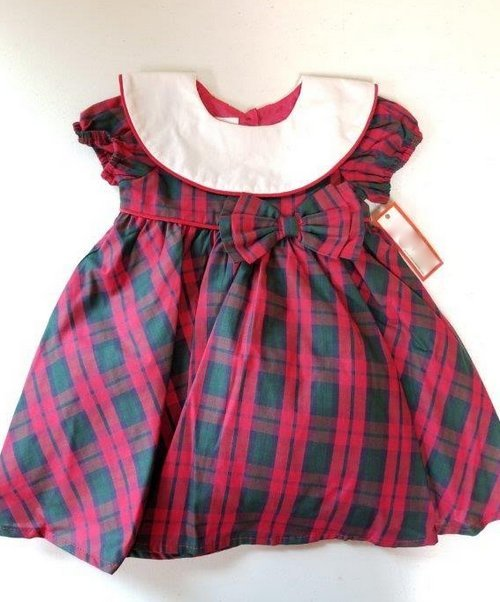 PLAID DRESS WITH BIB COLLAR AND BOW WAIST #20975