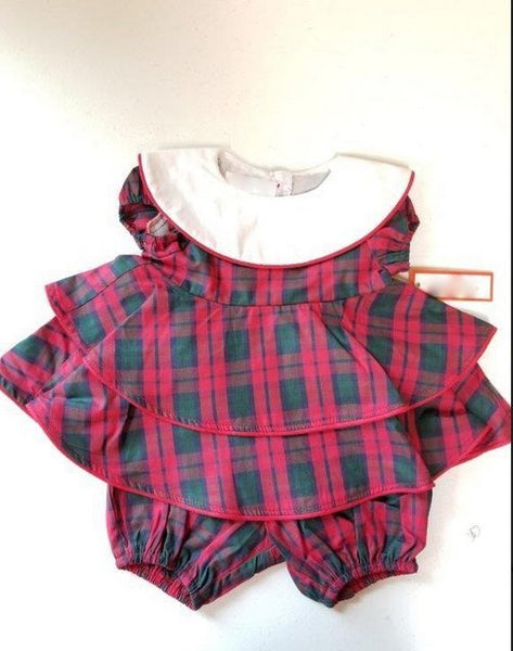 PLAID LAYERED BUBBLE WITH BIB COLLAR #20976