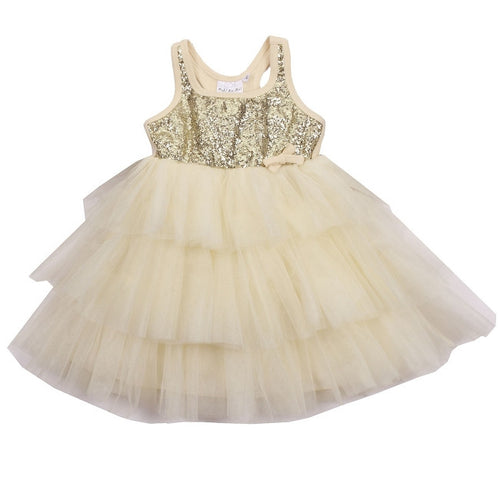 OOH! LA. LA! COUTURE, CHAMPAGNE 3 TIER WOW SEQUIN DRESS
