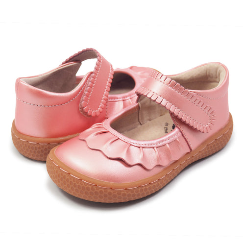 LIVIE & LUCA RUCHE LEATHER SHOE IN GUAVA SHIMMER #19805