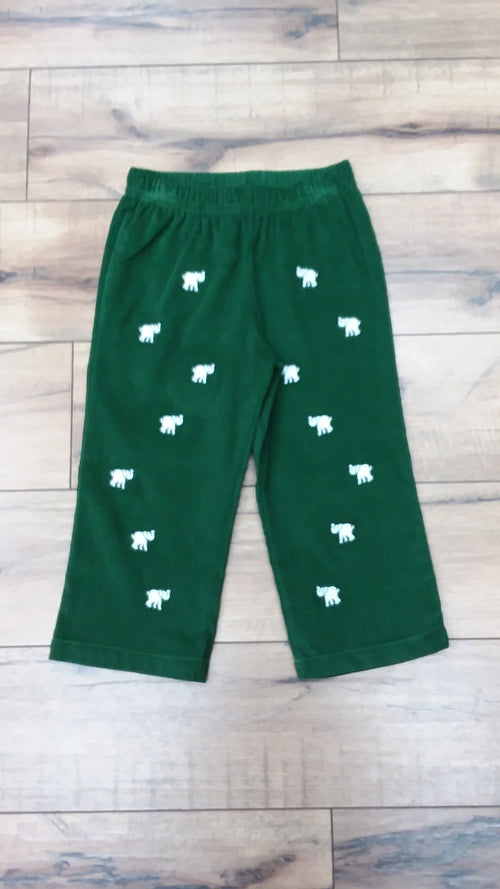 CRITTER PRINCETON PANT IN KIAWAH KELLY GREEN CORDUROY WITH ELEPHANTS