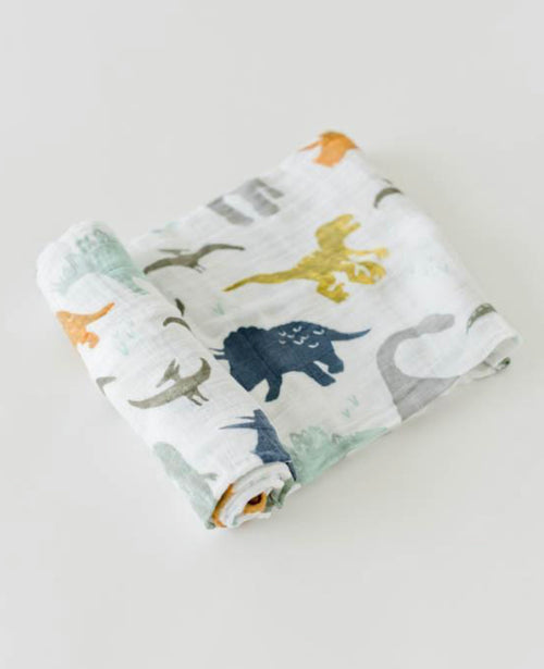 COTTON MUSLIN SWADDLE, DINO FRIENDS