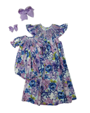 HAPPY FLORAL LAVENDER A/S BISHOP DRESS #2011075