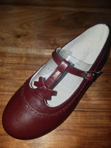 GEPPETTOS BURGANDY/BROWN LEATHER T-STRAP ORN MARY JANE #523BB