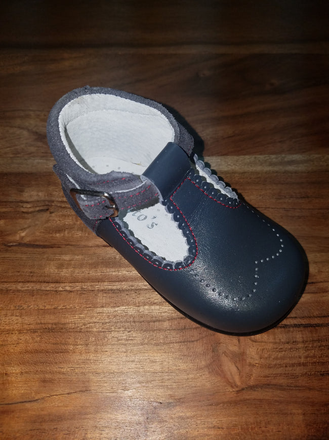 GEPPETTOS GREY LEATHER T-STRAP MARY JANE #484GL