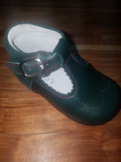 GEPPETTOS GREEN LEATHER T-STRAP MARY JANES #484GNL