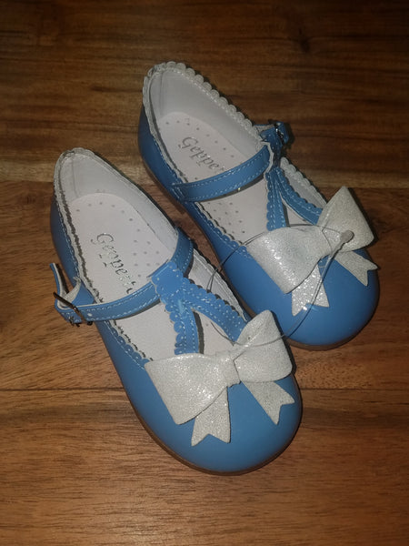 T-STRAP BLUE SHOE WITH WHITE BOW #575BWS