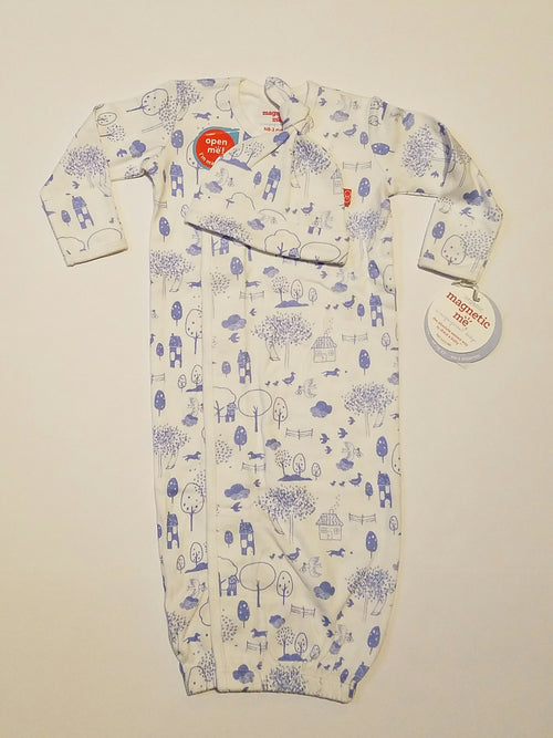 BLUE PERFECT DAY ORGANIC COTTON MAGNETIC GOWN SET #11325