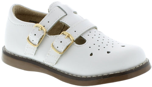 FOOTMATES DOUBLE BUCKLE MARY JANE, WHITE #21261