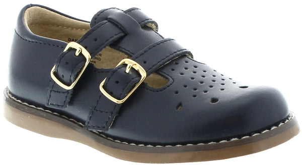 FOOTMATES DOUBLE BUCKLE MARY JANE, NAVY #21262