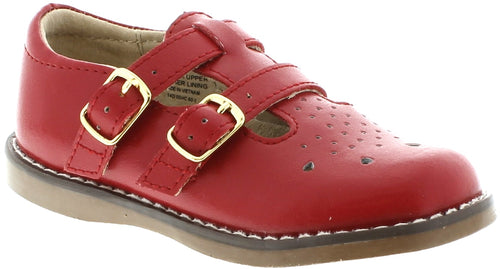 FOOTMATES DOUBLE BUCKLE MARY JANE, APPLE RED #21263