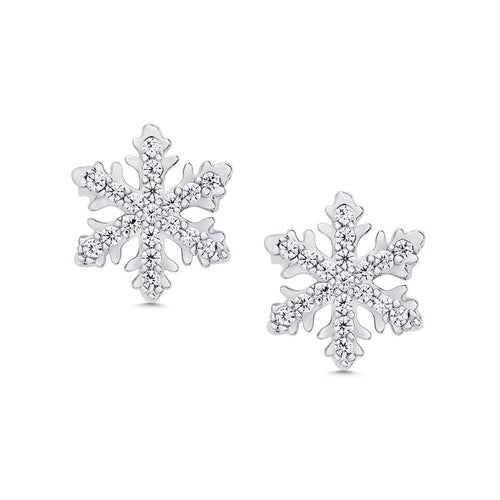 PAVE CZ SNOWFLAKE STUD EARRINGS IN STERLING SILVER