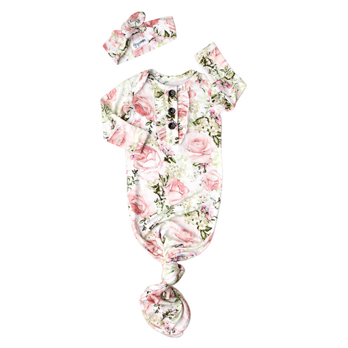 CAROLINE FLORAL KNOTTED BUTTON NEWBORN GOWN SET