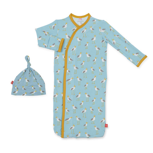 BLUE PLOVERS MODAL GOWN & HAT SET