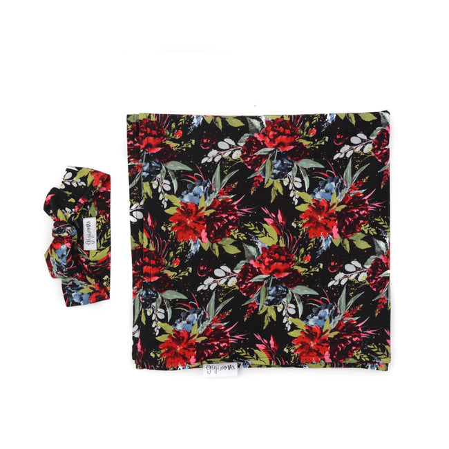 BLACK & RED FLORAL SWADDLE BLANKET & HEADBAND SET