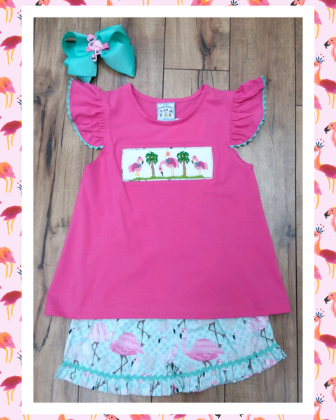 FLAMINGO 2PC SHORT SET