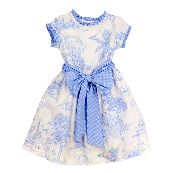 BLUE BELLE TOILE EMPIRE WAIST DRESS WITH SASH #200002