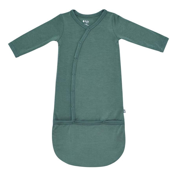 Pine green, bamboo,  baby bundler gown by Kyte Baby