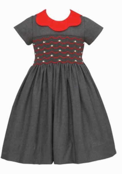 GRAY TWILL SMOCKED DRESS WITH RED SCALLOP COLLAR
