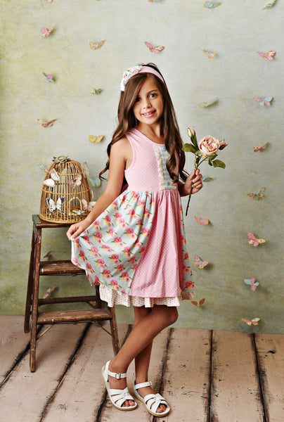 FRENCH ROSE DRESS & SHORTIE SET