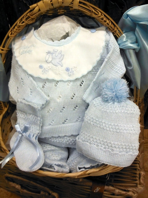 WILL'BETH WELCOME BABY 4PC KNIT SET IN BLUE #807630