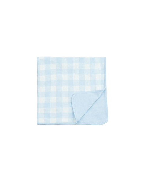 GINGHAM KNIT BLUE BLANKET