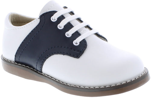 FOOTMATES SADDLE OXFORDS, WHITE/NAVY