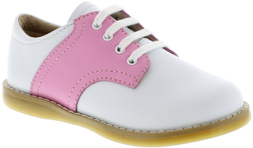 FOOTMATES SADDLE OXFORDS, WHITE/BUBBLEGUM PINK #21268