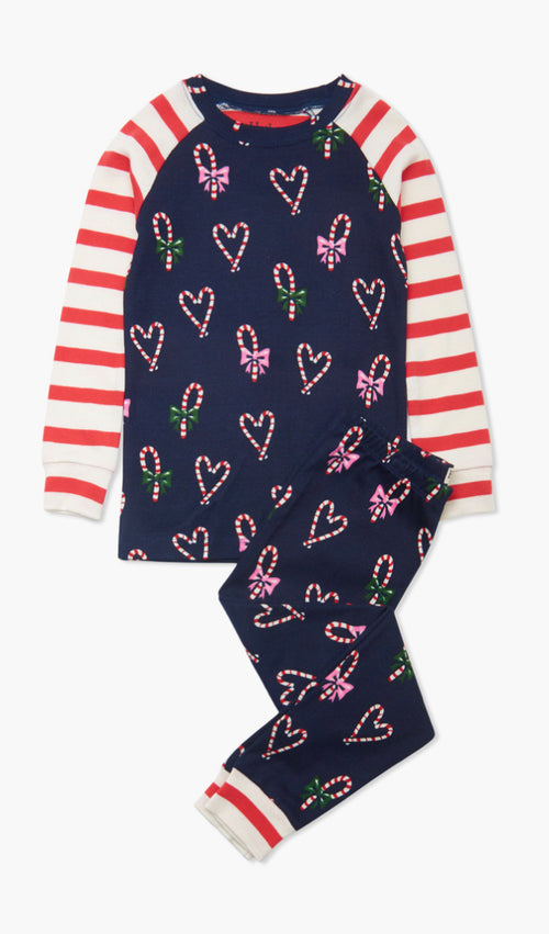 CANDY CANE HEART ORGANIC COTTON RAGLAN PAJAMA SET