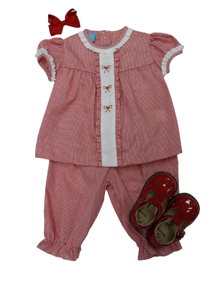 RED MINI GINGHAM CANDY CANE PANTALOON SET