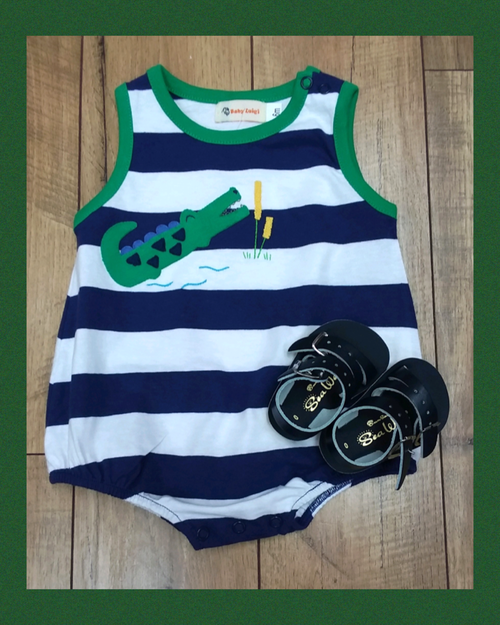 NAVY STRIPE ALLIGATOR ROMPER #20320