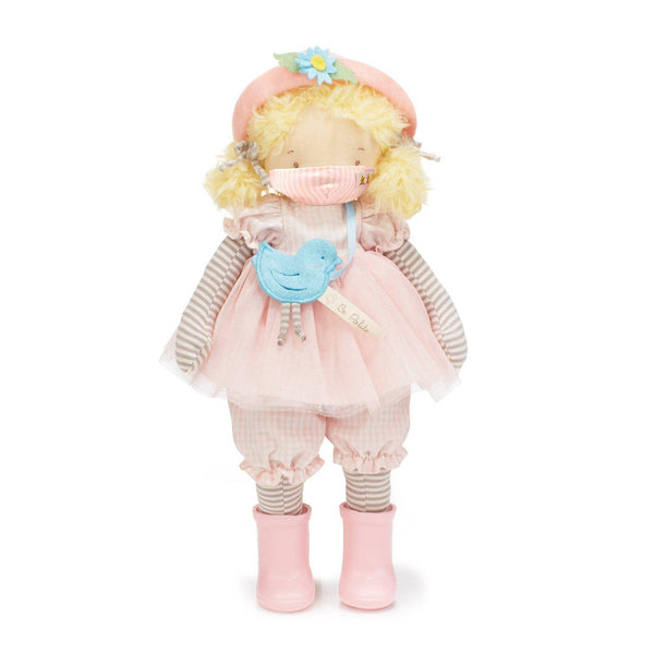 ELSIE GIRL FRIEND DOLL WITH PINK PINSTRIPE FACE MASK