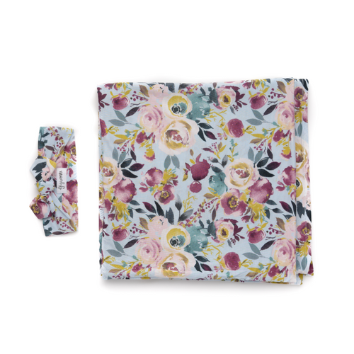 ANNIE FLORAL SWADDLE BLANKET & HEADBAND SET