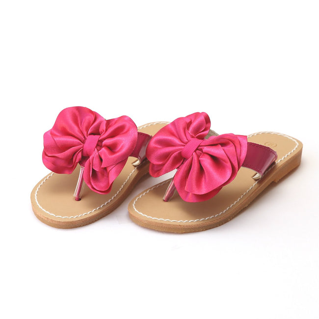 SATIN BOW SANDAL IN PINK #21709