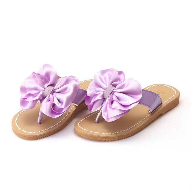 SATIN BOW SANDAL IN LILAC #21709