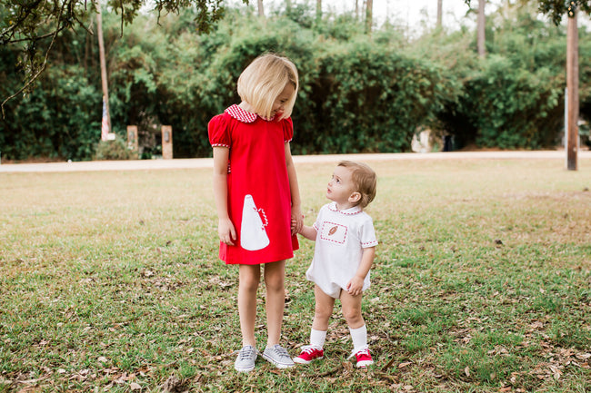 RED KNIT MEGAPHONE CHEER DRESS BY LULLABY SET #1924R