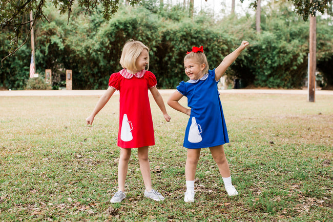BLUE KNIT MEGAPHONE CHEER DRESS BY LULLABY SET #1924B
