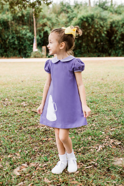 PURPLE KNIT MEGAPHONE CHEER DRESS BY LULLABY SET#1924P