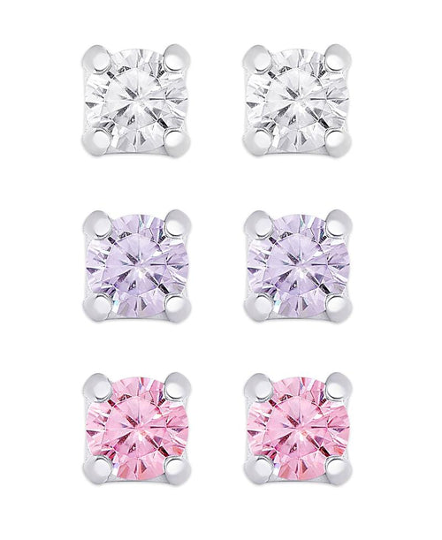 CZ STUD EARRING SET IN STERLING SILVER (WHITE CZ, LAVENDER CZ, PINK CZ)