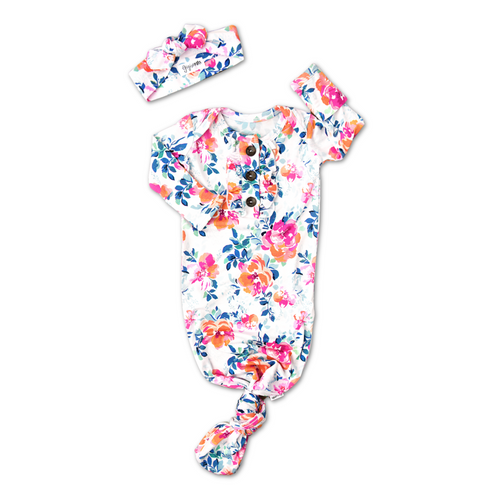 BELLA FLORAL KNOTTED BUTTON NEWBORN GOWN SET