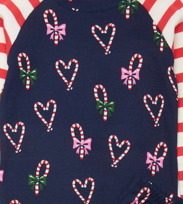 CANDY CANE HEART ORGANIC COTTON FOOTED COVERALL