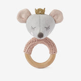 PRINCESS MOUSE WOODEN BABY RING RATTLE