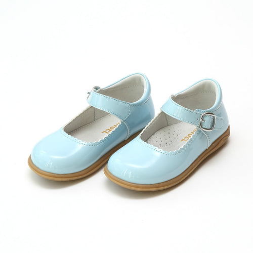 CHLOE CLASSIC SCALLOPED MARY JANE IN SKY BLUE PATENT LEATHER