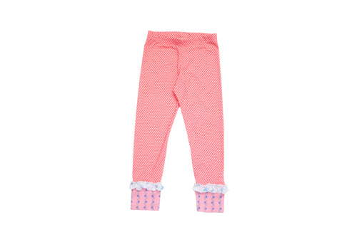 PINK FLORAL CONTRAST DOT ANKLE LEGGING BY BE GIRL
