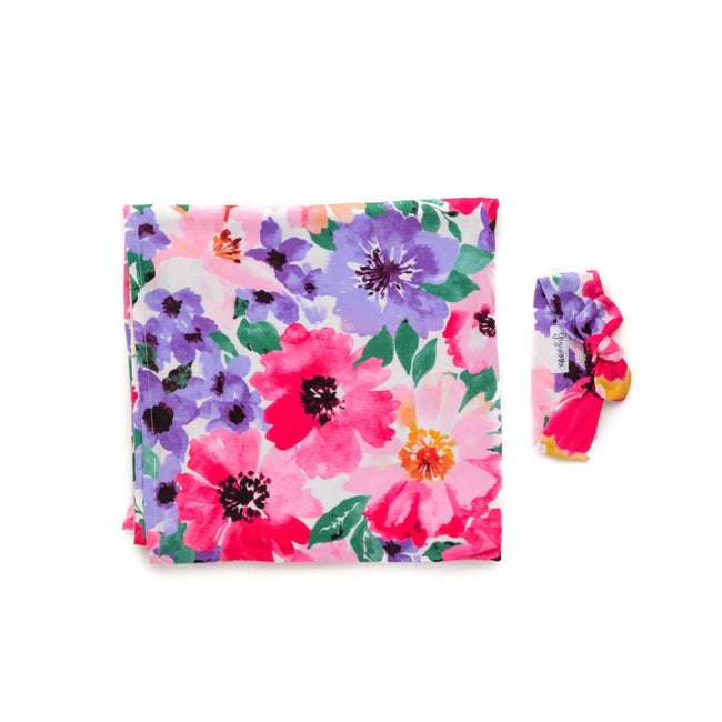 EMILIA FLORAL SWADDLE BLANKET & HEADBAND SET