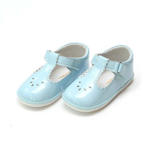DOTTIE SCALLOPED T-STRAP MARY JANE IN PATENT SKY BLUE