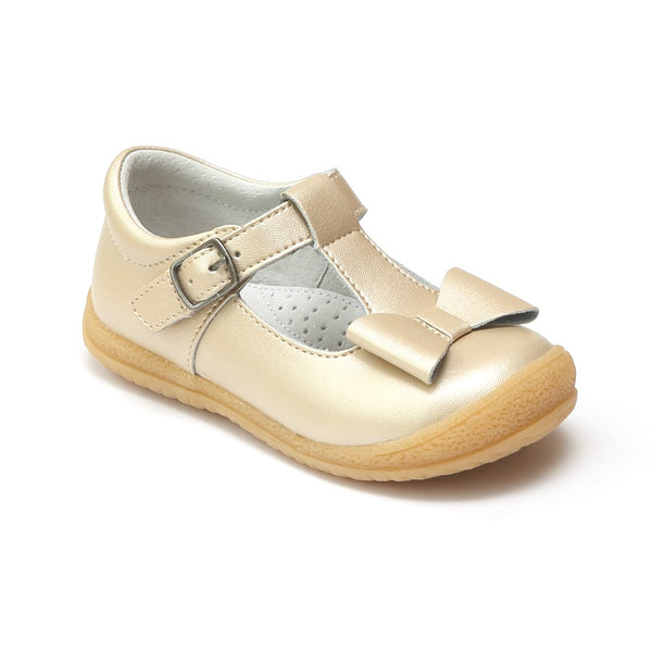 EMMA T-STRAP MARY JANE WITH BOW IN CHAMPAGNE #21444
