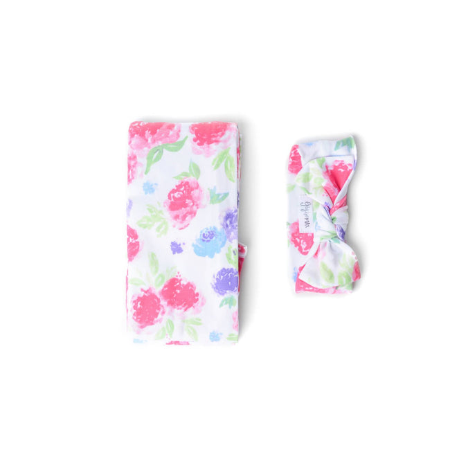 PINK PURPLE BRYNN FLORAL SWADDLE BLANKET & HEADBAND SET