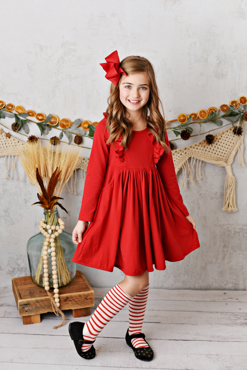 BELLA RED POCKET DRESS BY SERENDIPITY